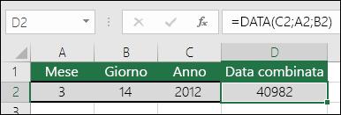 Esempio 1 di funzione DATA