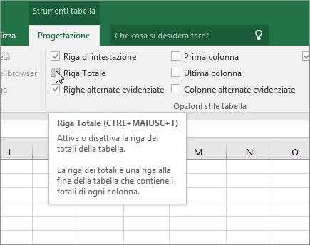 Opzione Riga Totale nella scheda Progettazione
