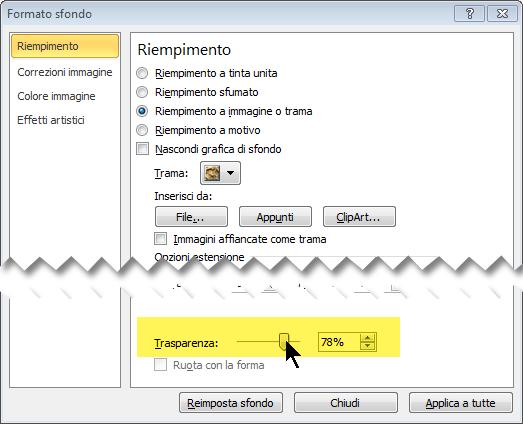 Trascinare il dispositivo di scorrimento Trasparenza per regolare la luminosità dell'immagine