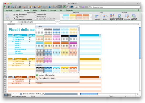 Cartella di lavoro di Excel che mostra le opzioni di Stili tabella