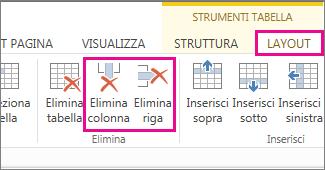 Immagine dei comandi Elimina tabella ed Elimina riga nella scheda Layout di Strumenti tabella della barra multifunzione