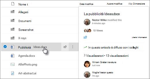 Screenshot della scheda hover del file visualizzata quando si posiziona il puntatore del mouse su un file in OneDrive o SharePoint