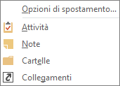 Pulsante per la scelta di più opzioni (tre puntini di sospensione) sulla barra di accesso rapido per la visualizzazione delle opzioni di spostamento