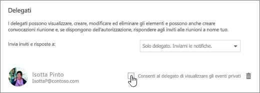 Screenshot della casella di controllo Consenti al delegato di visualizzare gli eventi privati.