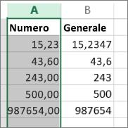 esempio di numeri visualizzati in diversi formati, quali numero e generale.