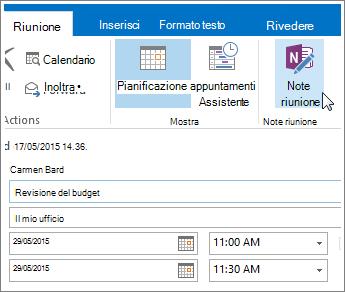 Screenshot del pulsante Note riunione di OneNote in Outlook.