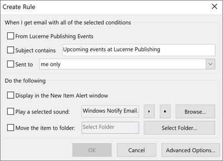 Creazione di una regola in Outlook