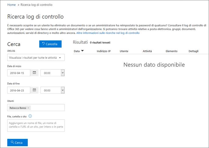 Report Attività di Office 365 che mostra tutte le attività per un partner di Extranet