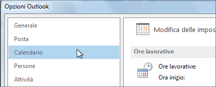 In Opzioni Outlook fare clic su Calendario.