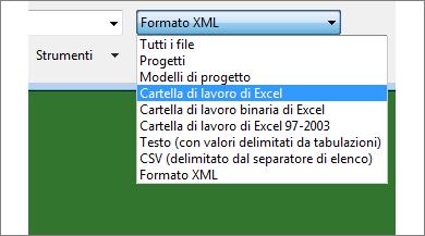Selezionare la cartella di lavoro di Excel da aprire per i dati