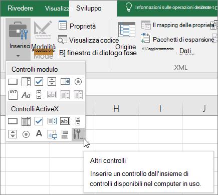 Controlli ActiveX sulla barra multifunzione