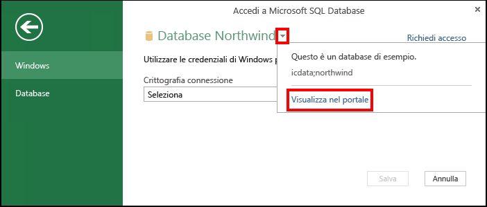 Visualizzare informazioni delle origini dati nel portale
