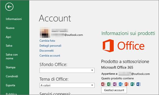 L'account Microsoft associato a Office viene visualizzato nella finestra Account di un'applicazione di Office