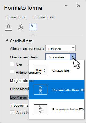 Pannello Effetti testo con la direzione del testo selezionata