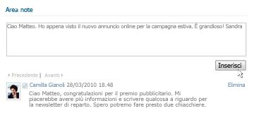 Area note di SharePoint