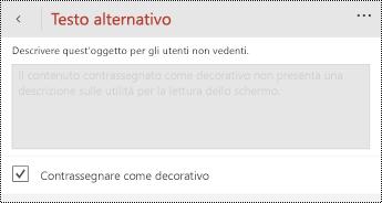 Opzione Segna come decorativa selezionata nella finestra di dialogo Testo alternativo per PowerPoint per Windows Phone.