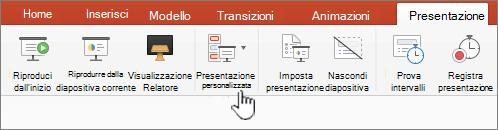 Pulsante Riproduci presentazione personalizzata