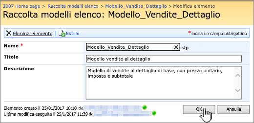 Finestra di dialogo di modifica modello elenco