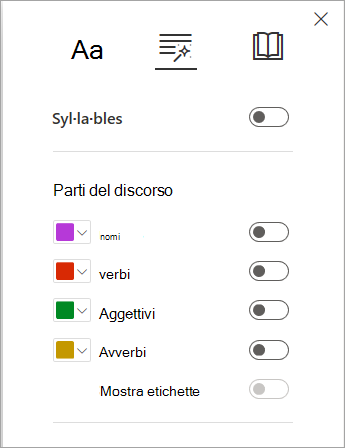 Opzioni grammaticali in un'utilità di lettura immersiva