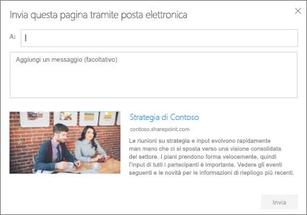 Finestra di dialogo Invia tramite posta elettronica