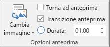Gruppo Opzioni anteprima nella scheda Formato per un'anteprima della sezione o della diapositiva in PowerPoint.