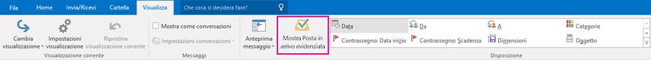 Pulsante Mostra Posta in arrivo evidenziata nella scheda Visualizza