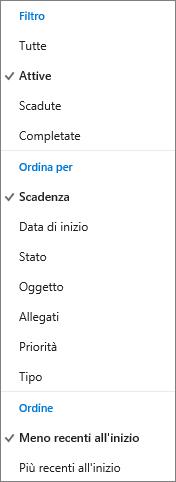 Scegliere come filtrare, disporre e ordinare le attività nell'elenco attività di Outlook.com