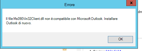 Errore di arresto anomalo di Outlook