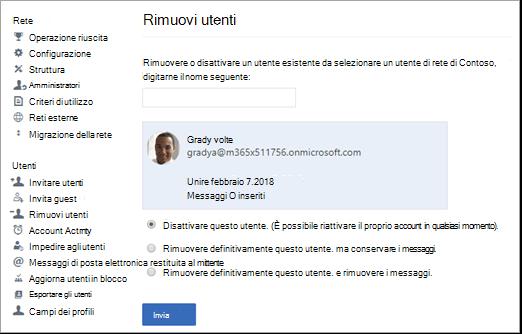 Screenshot che mostra come disattivare un utente in Yammer.