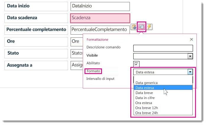 Immagine del menu Formattazione in un'app Access.