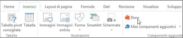 Screenshot di una sezione della scheda Inserisci sulla barra multifunzione di Excel con un cursore che punta allo Store. Selezionare Store per passare a Office Store e cercare i componenti aggiuntivi per Excel.