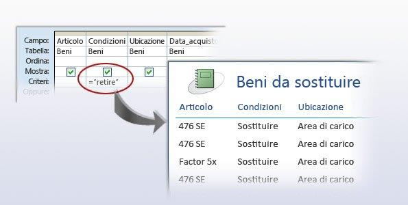 Una query come origine dati per un report