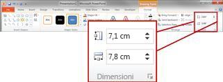 Gruppo Dimensioni nella scheda Formato di Strumenti disegno