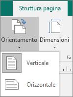 Scheda Struttura pagina con Orientamento selezionato e opzioni Verticale oppure Orizzontale.