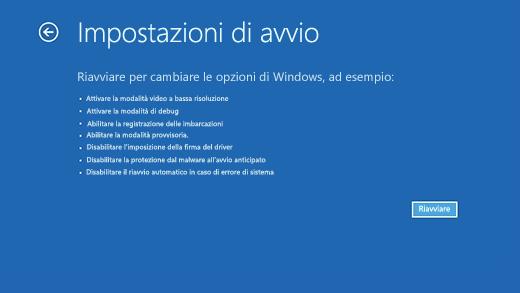 Schermata Impostazioni di avvio in Ambiente ripristino Windows.