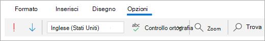 Screenshot della scheda Opzioni