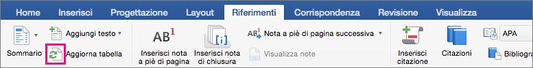 Fare clic su Aggiorna sommario nella scheda Riferimenti per aggiornare il sommario del documento.