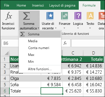 È possibile usare la procedura guidata Somma automatica per creare automaticamente una formula SOMMA.  Selezionare un intervallo sopra/sotto o a sinistra/destra dell'intervallo da sommare e quindi scegliere la scheda Formule sulla barra multifunzione e selezionare Somma automatica > Somma.