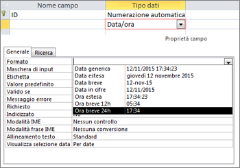 La proprietà Formato di un campo Data/ora