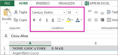 comandi di formattazione caratteri