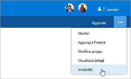 Screenshot del pulsante invita altri nel menu impostazioni gruppo.