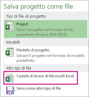 salvare il file di progetto come cartella di lavoro di microsoft excel.