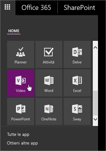 Screenshot del riquadro delle app con il riquadro Video attivo.