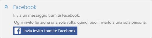 Primo piano della sezione Facebook della finestra di dialogo Aggiungi qualcuno, con il pulsante Invia invito tramite Facebook.
