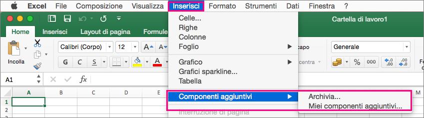 Visualizza il flusso Inserisci > Componenti aggiuntivi in Office 2016 per Mac.