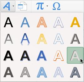 Scheda, oggetti WordArt menu Inserisci, cursore sul 'Riempimento - ombra interna grigio 25%, 2 di sfondo '