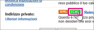 google calendar - creazione di un ical privato