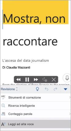 Mostra Leggi ad alta volce nell'app Word