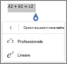 Con i formati di equazioni matematiche