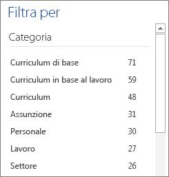 Categorie di modelli di curriculum